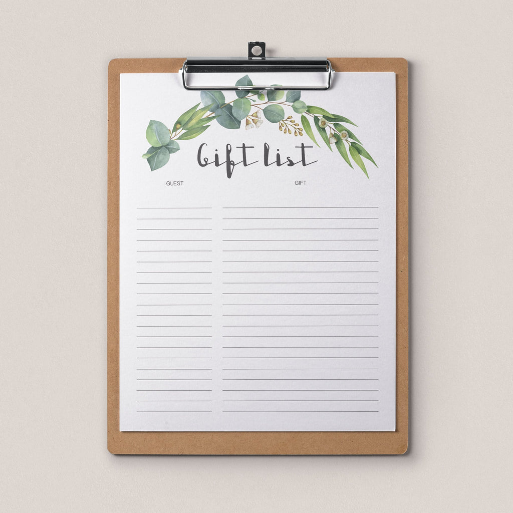 Botanical gift tracker printable by LittleSizzle