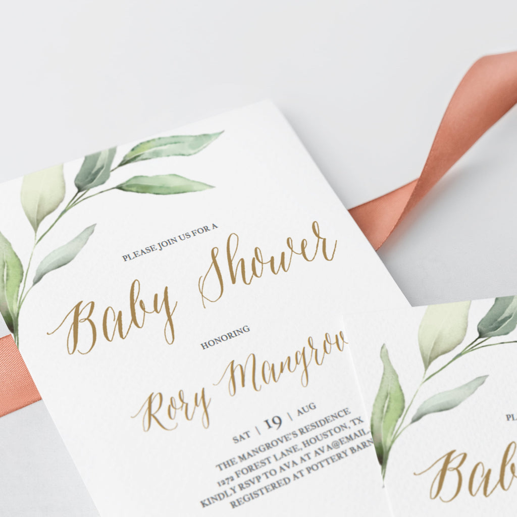 Greenery and gold babyshower invite template by LittleSizzle