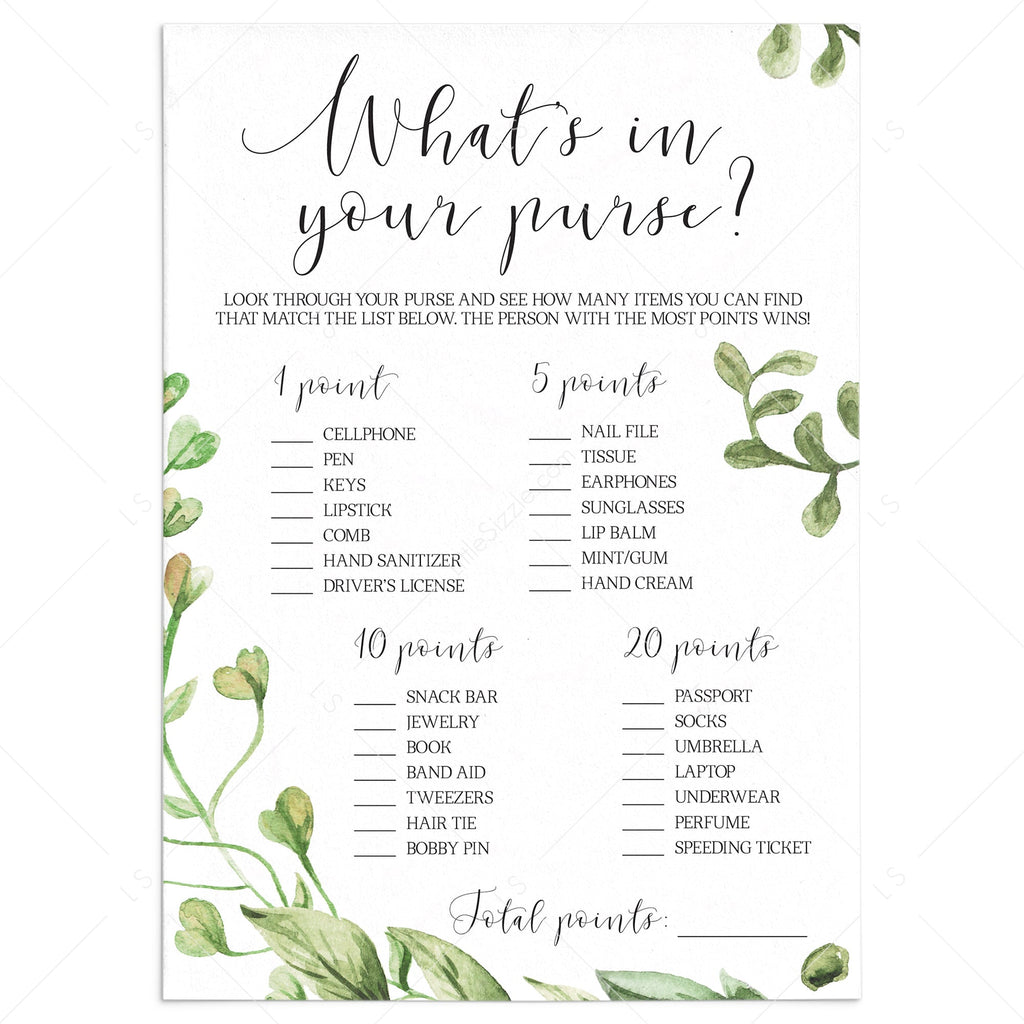 greenery bridal shower whats in your purse instant download