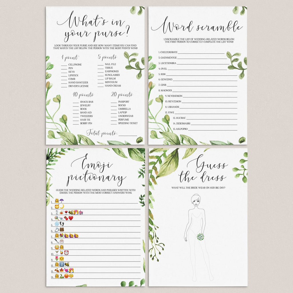 green leaves bridalshower games package printables