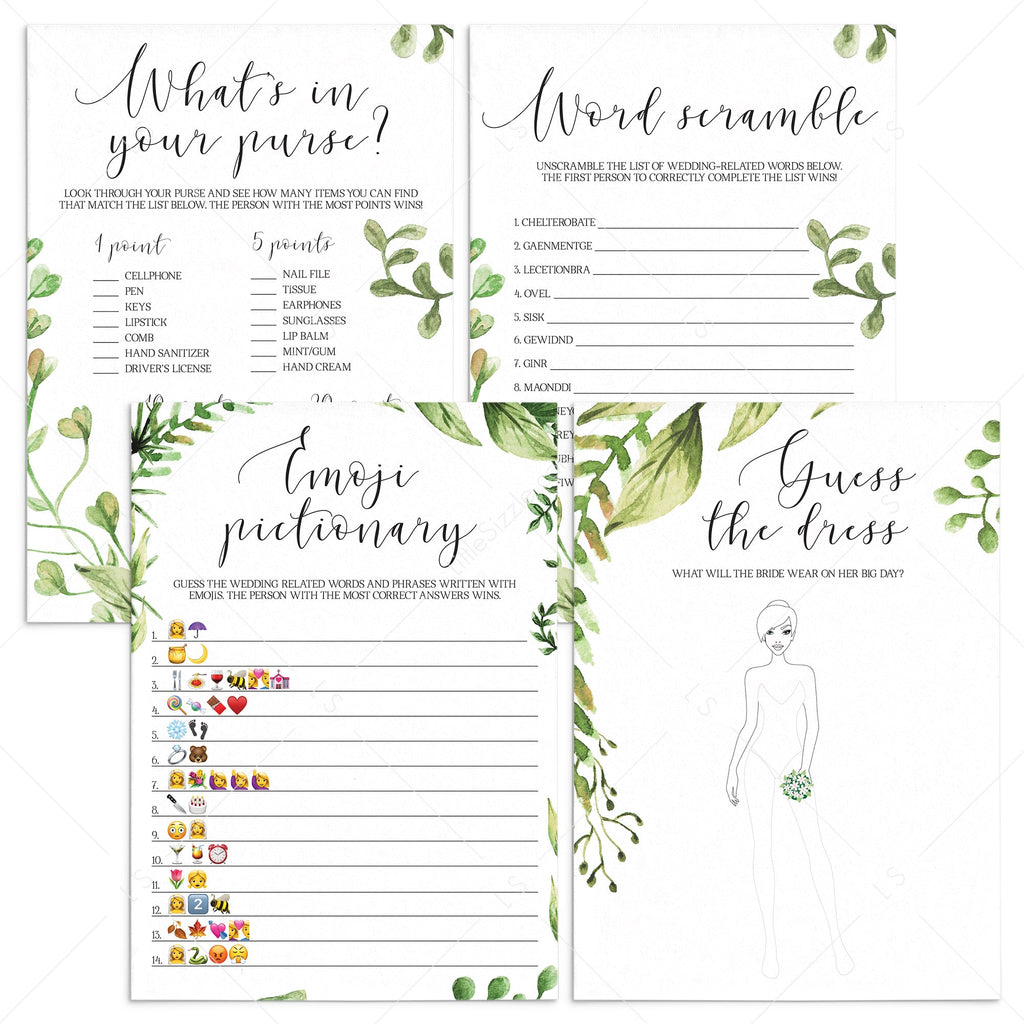 botanical bridal shower games bundle instant downloads by LittleSizzle