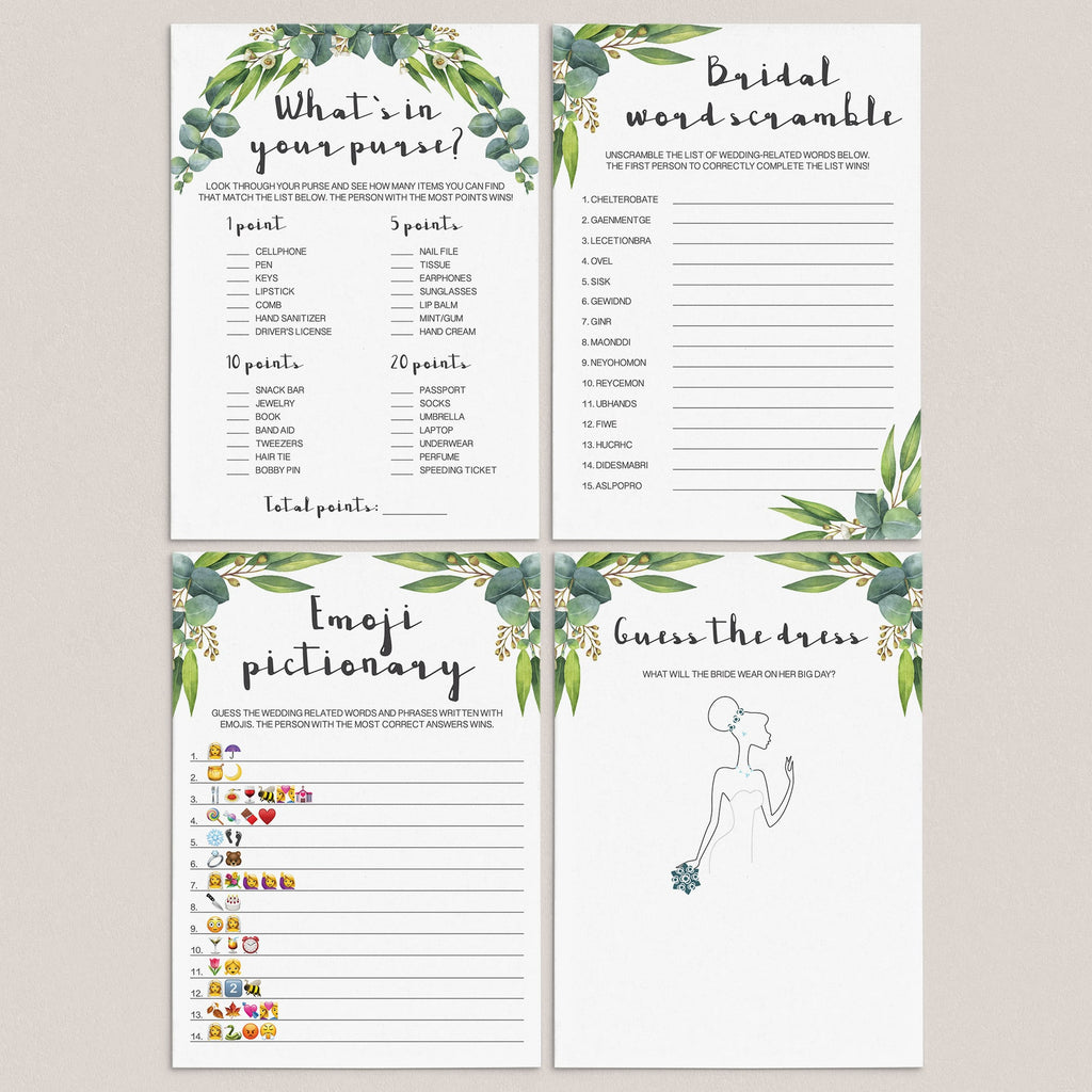 botanical bridal shower games package printables by LittleSizzle