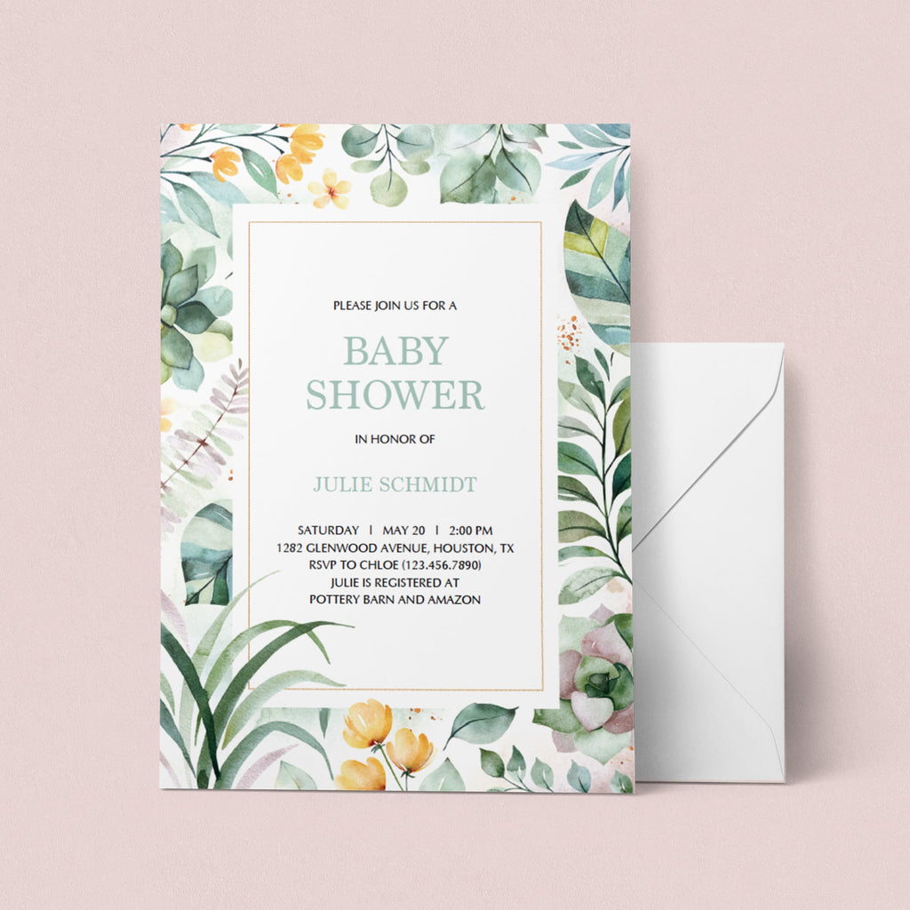 Botanical baby shower invitation template by LittleSizzle