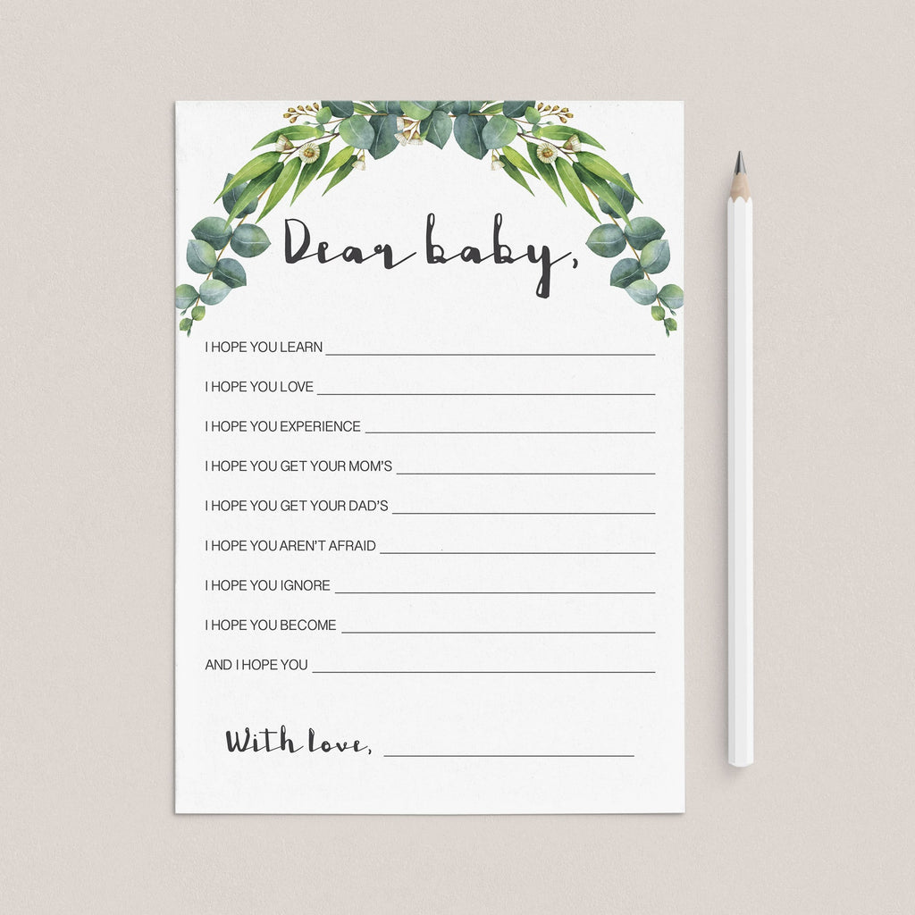 Instant download greenery baby wishes card by LittleSizzle