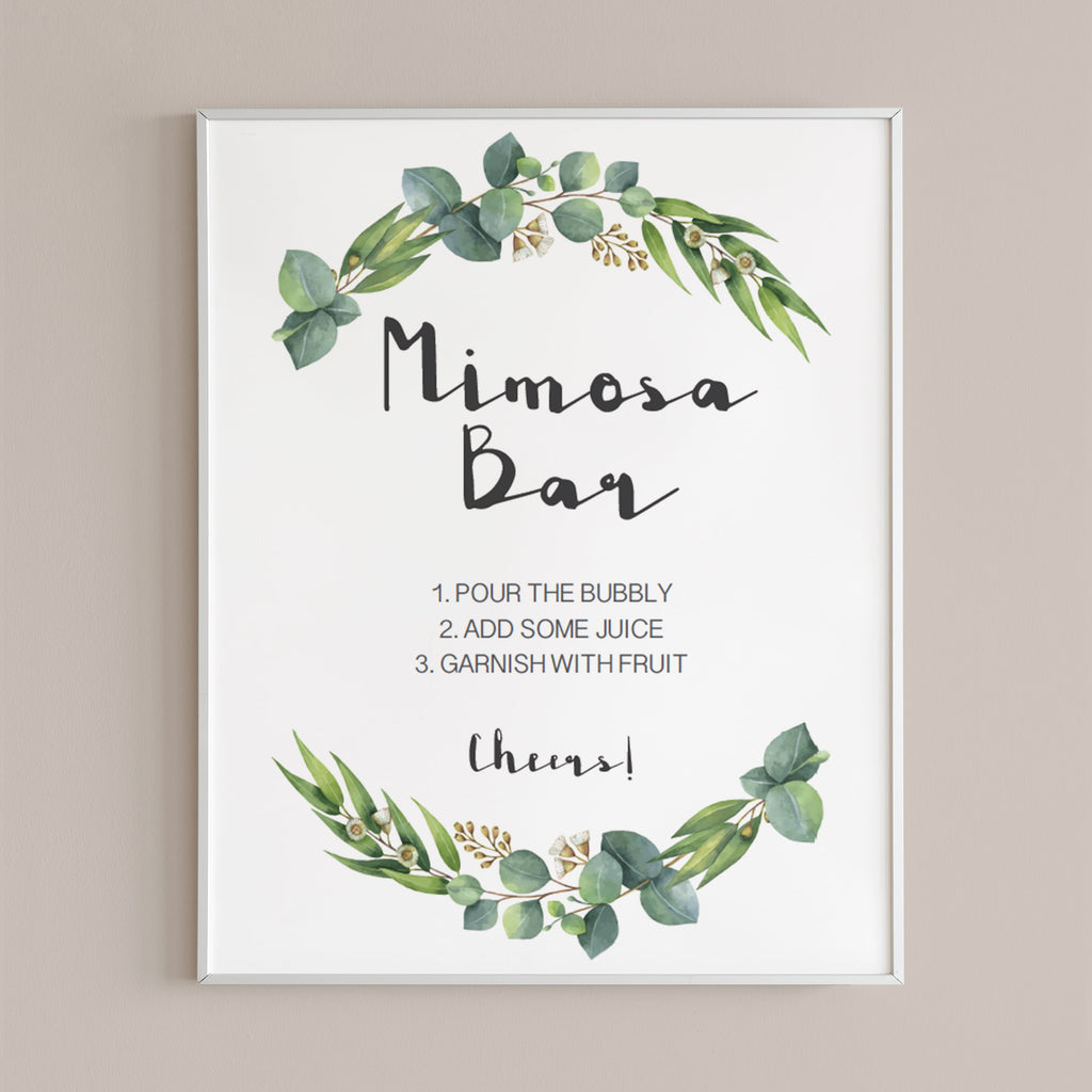 Printable mimosa bar table sign watercolor green leaf by LittleSizzle