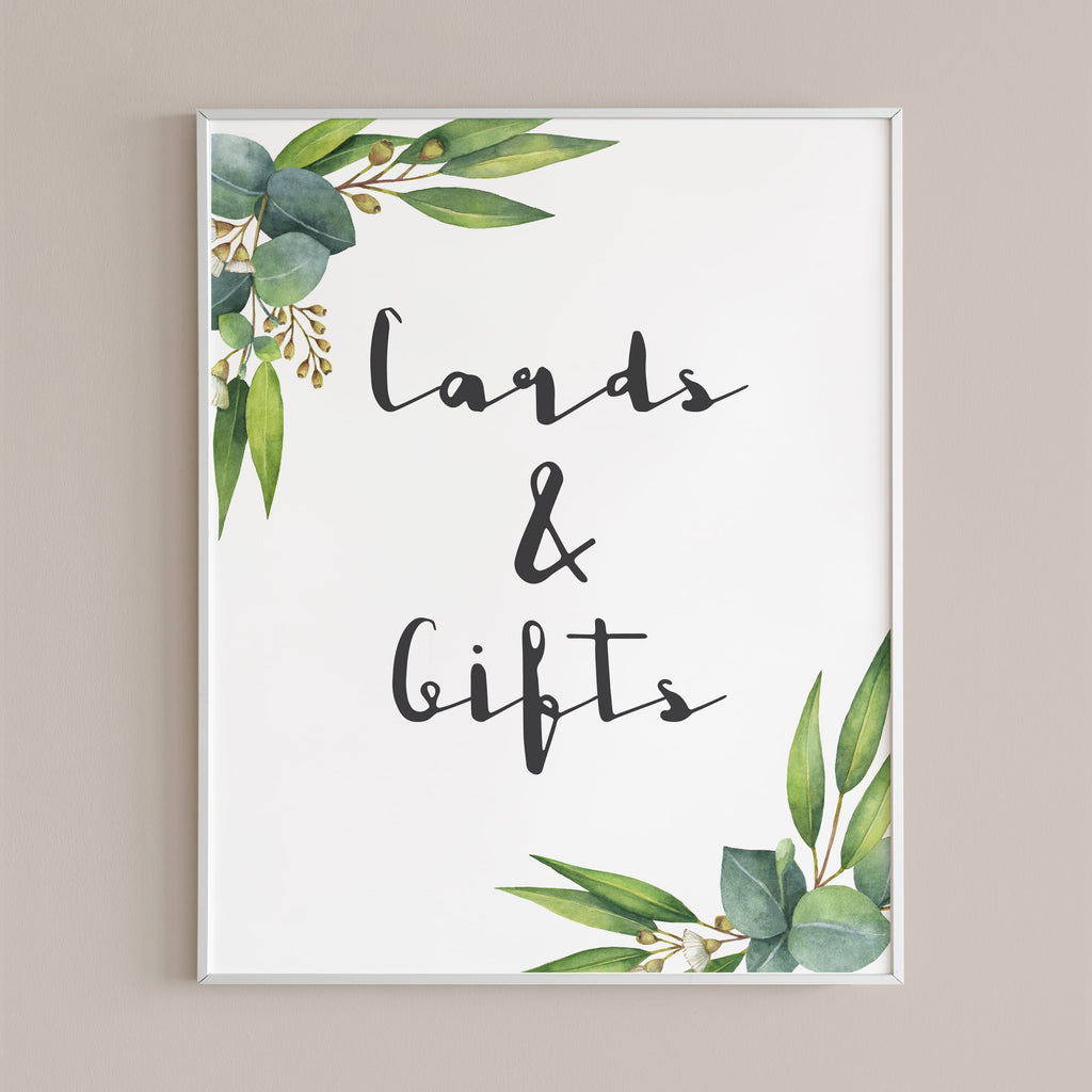 Greenery gifts table sign printable by LittleSizzle