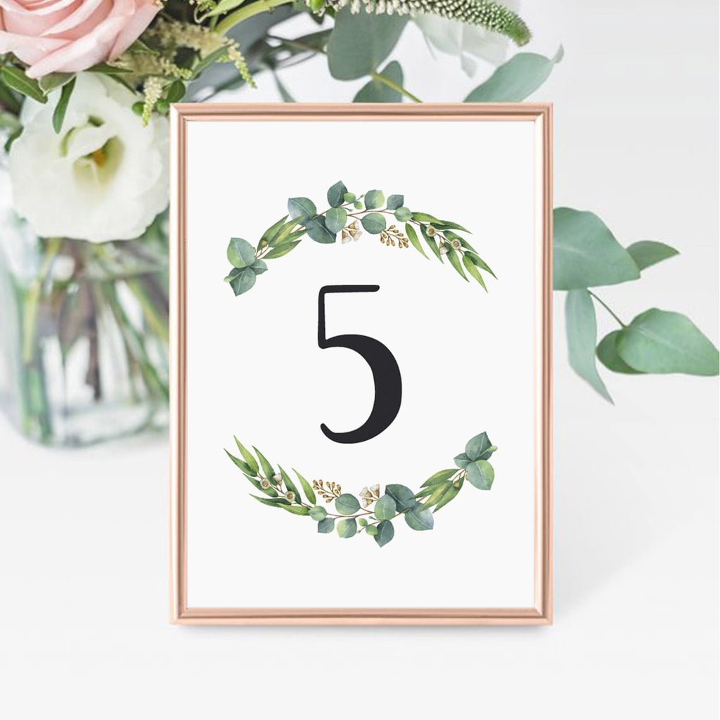 DIY table number cards for green themed shower by LittleSizzle