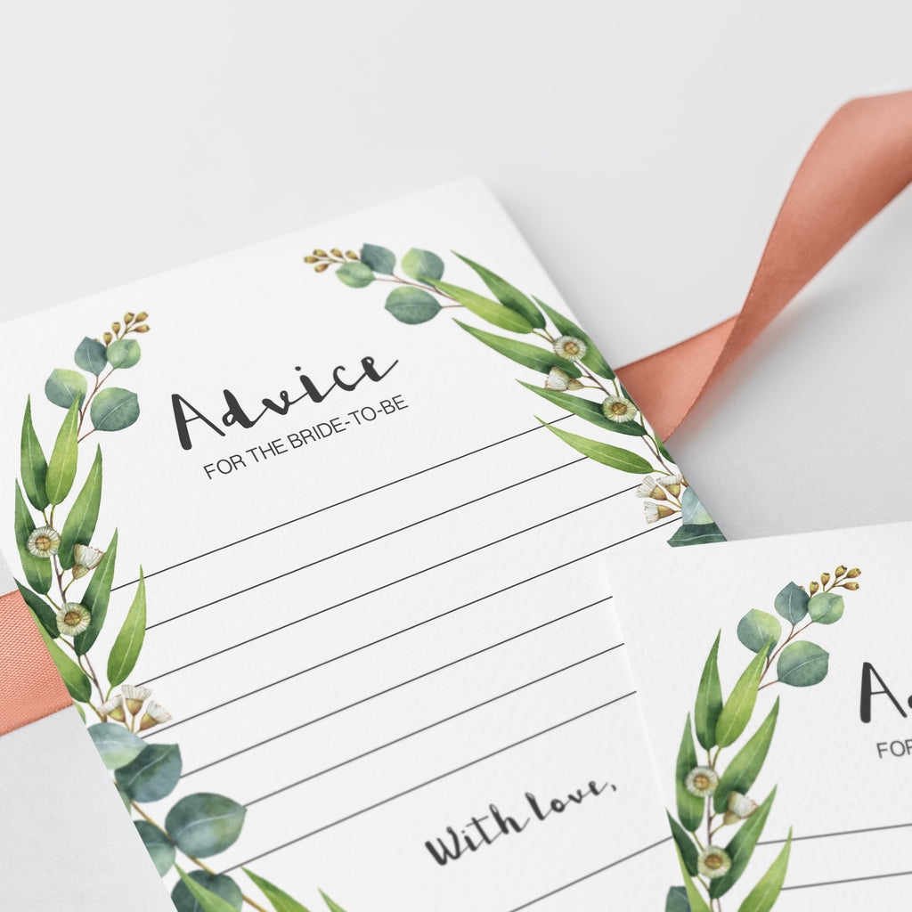 eucalyptus bridal shower games printable cards