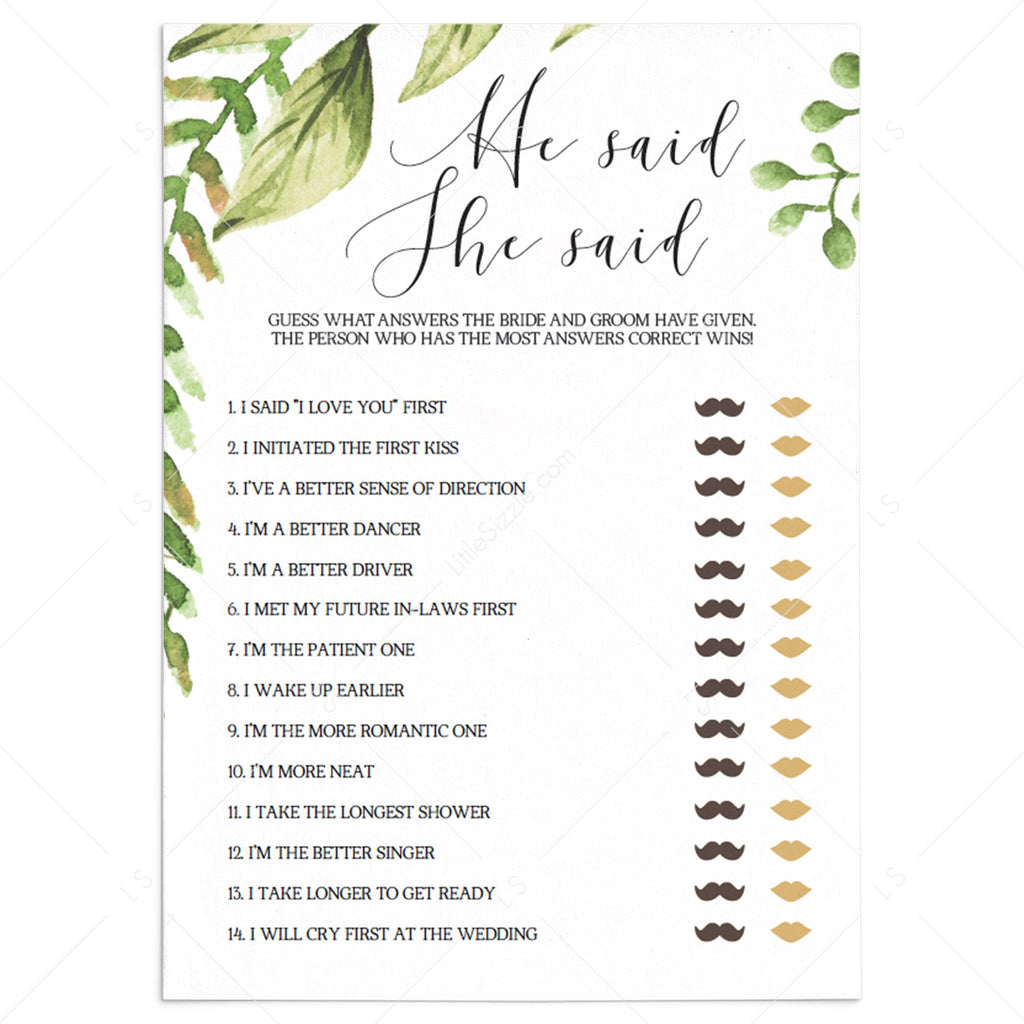 botanical wedding game he said she said printable by LittleSizzle