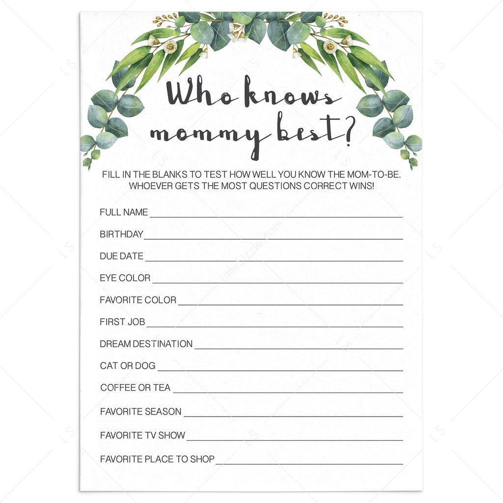Gender neutral baby shower game who knows mommy best by LittleSizzle