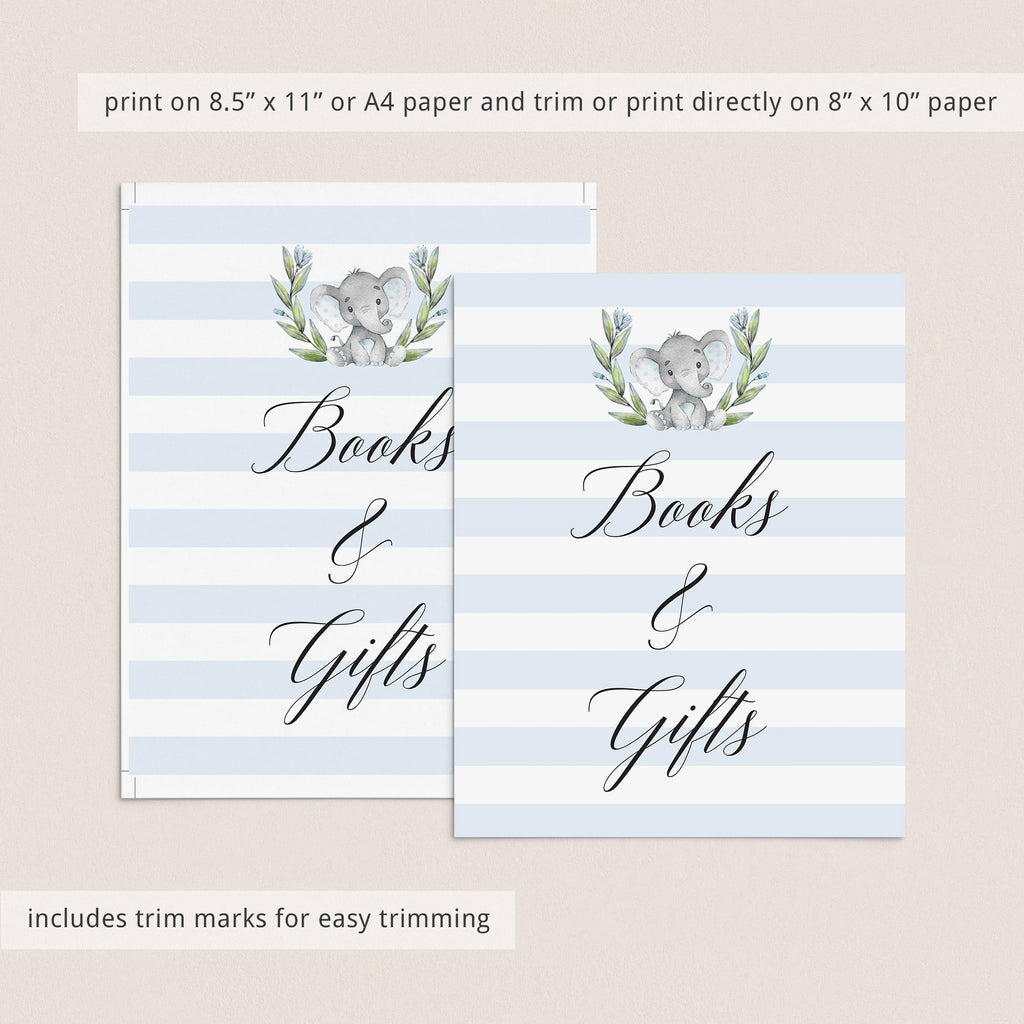 Printable books and gifts table sign for blue baby shower by LittleSizzle