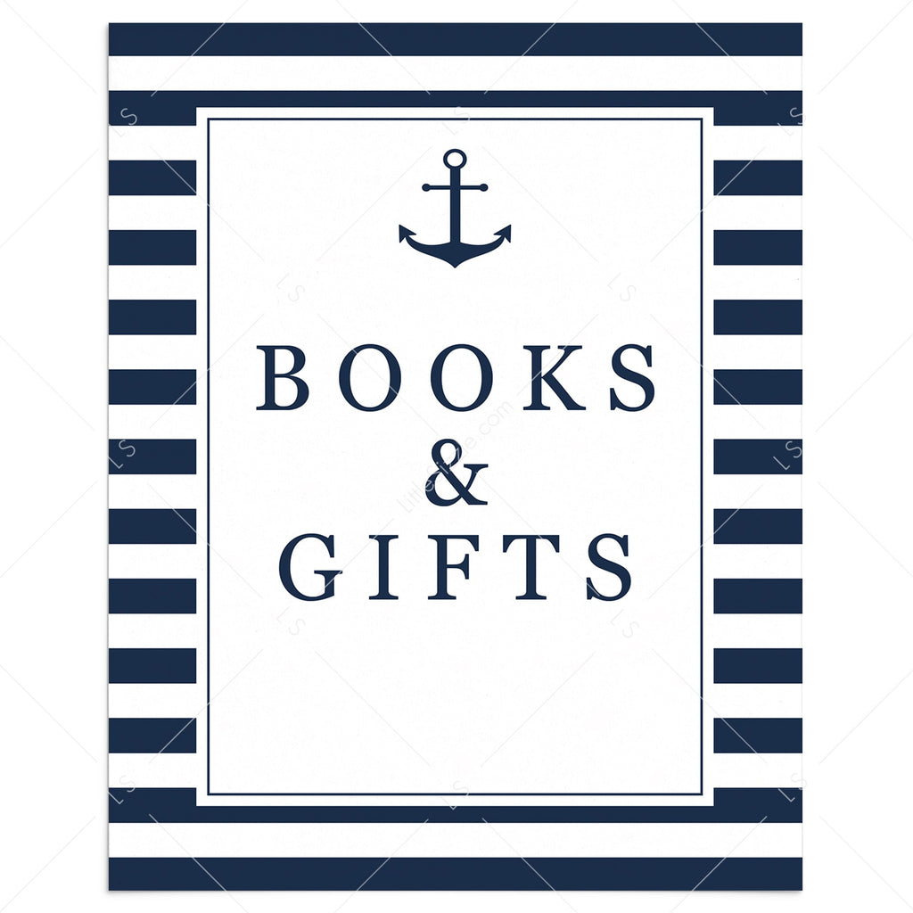 Nautical baby shower Books and Gifts sign by LittleSizzle