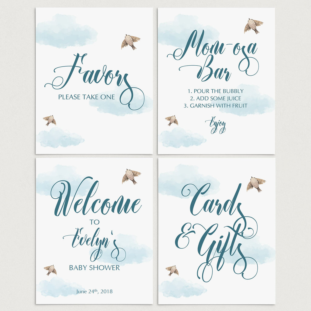 White and blue clouds baby shower decorations printable by LittleSizzle