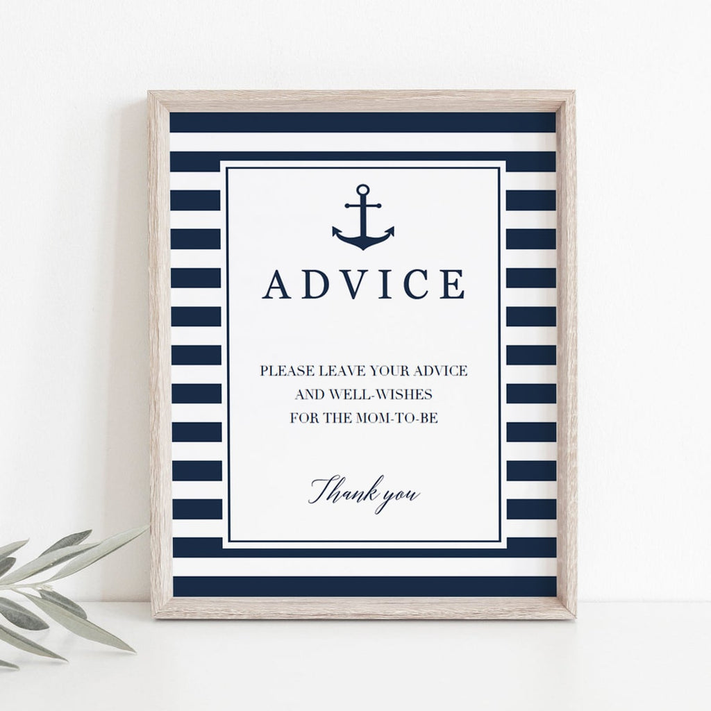 Advice for new parents printable sign navy and white stripes by LittleSizzle