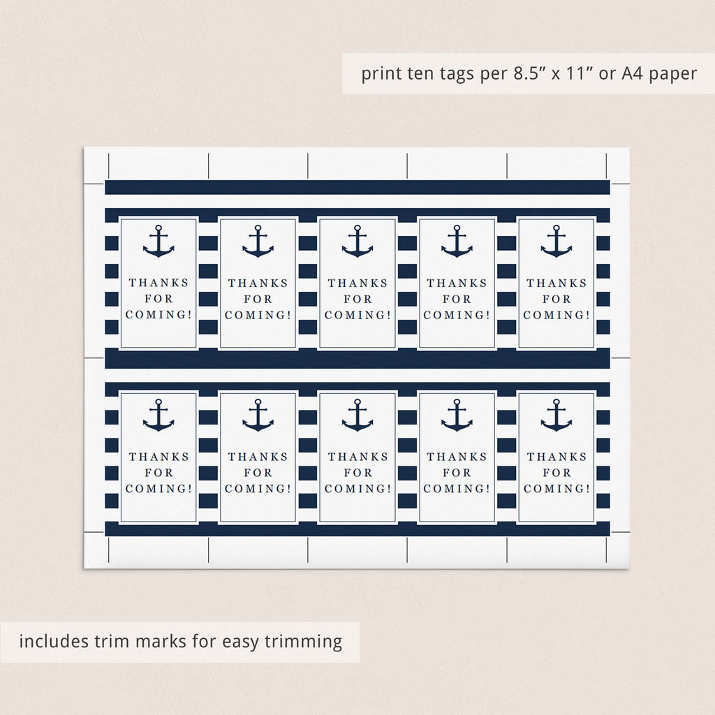 Nautical Party Supplies Printable