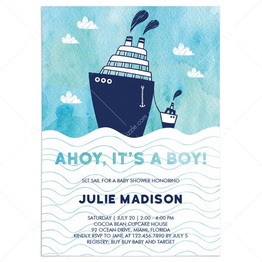 Ahoy its a boy baby shower invitation template DIY by LittleSizzle