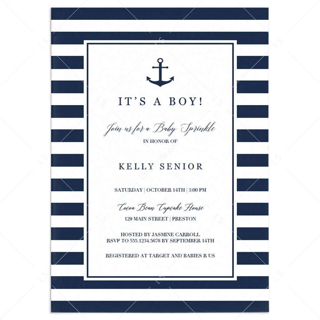 Nautical baby sprinkle invitation template by LittleSizzle