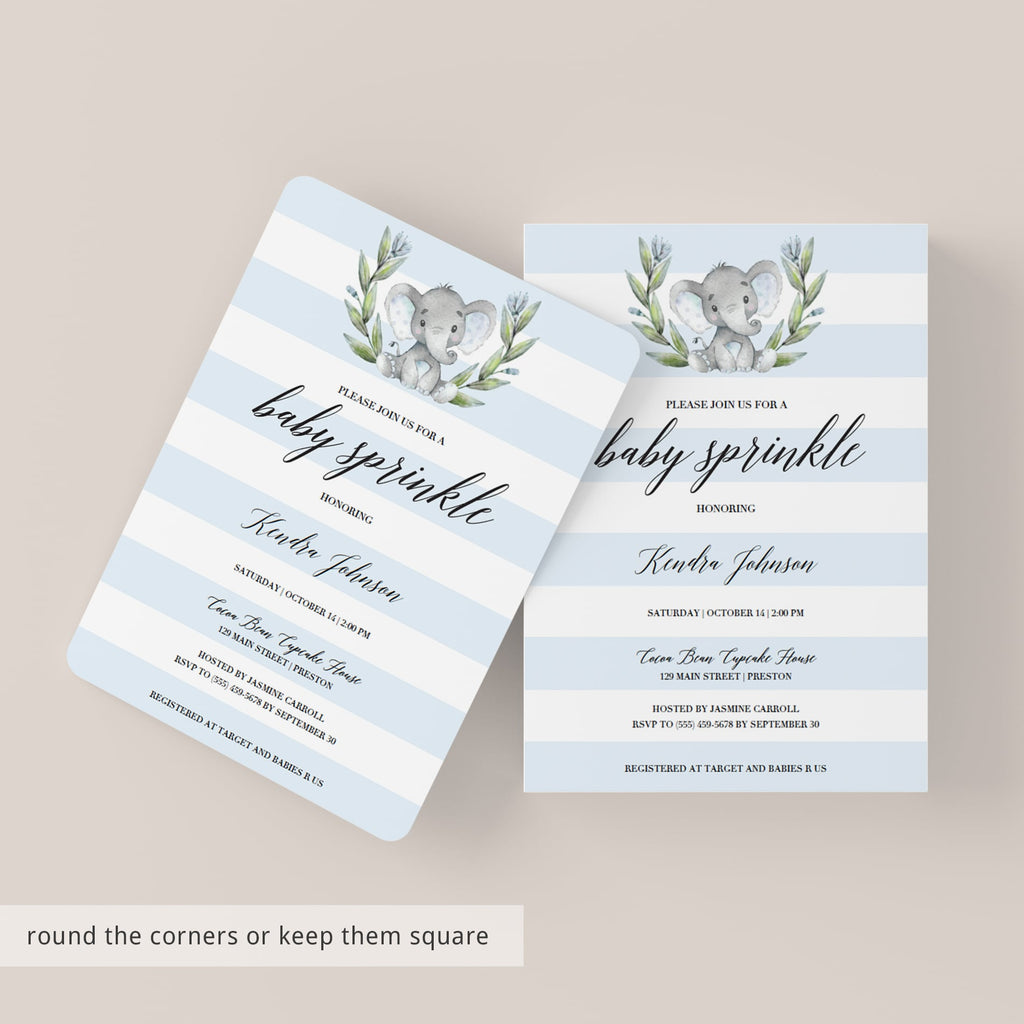 Elephant Baby Sprinkle Invitation Template for Boy