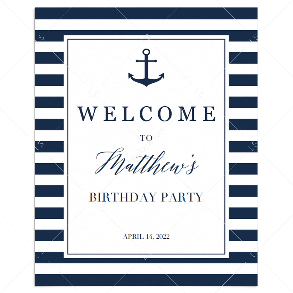 Personalized Welcome Sign for Nautical Party by LittleSizzle