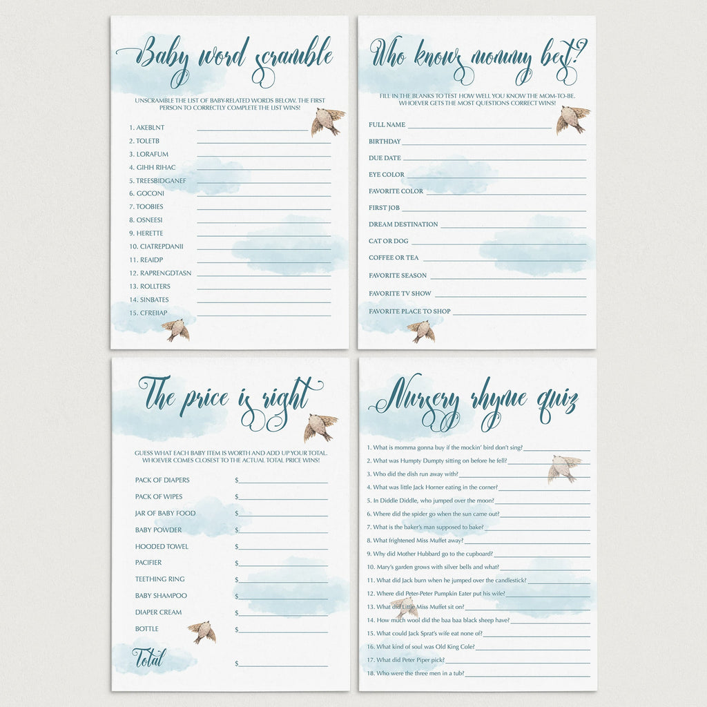 Instant download blue baby shower games by LittleSizzle