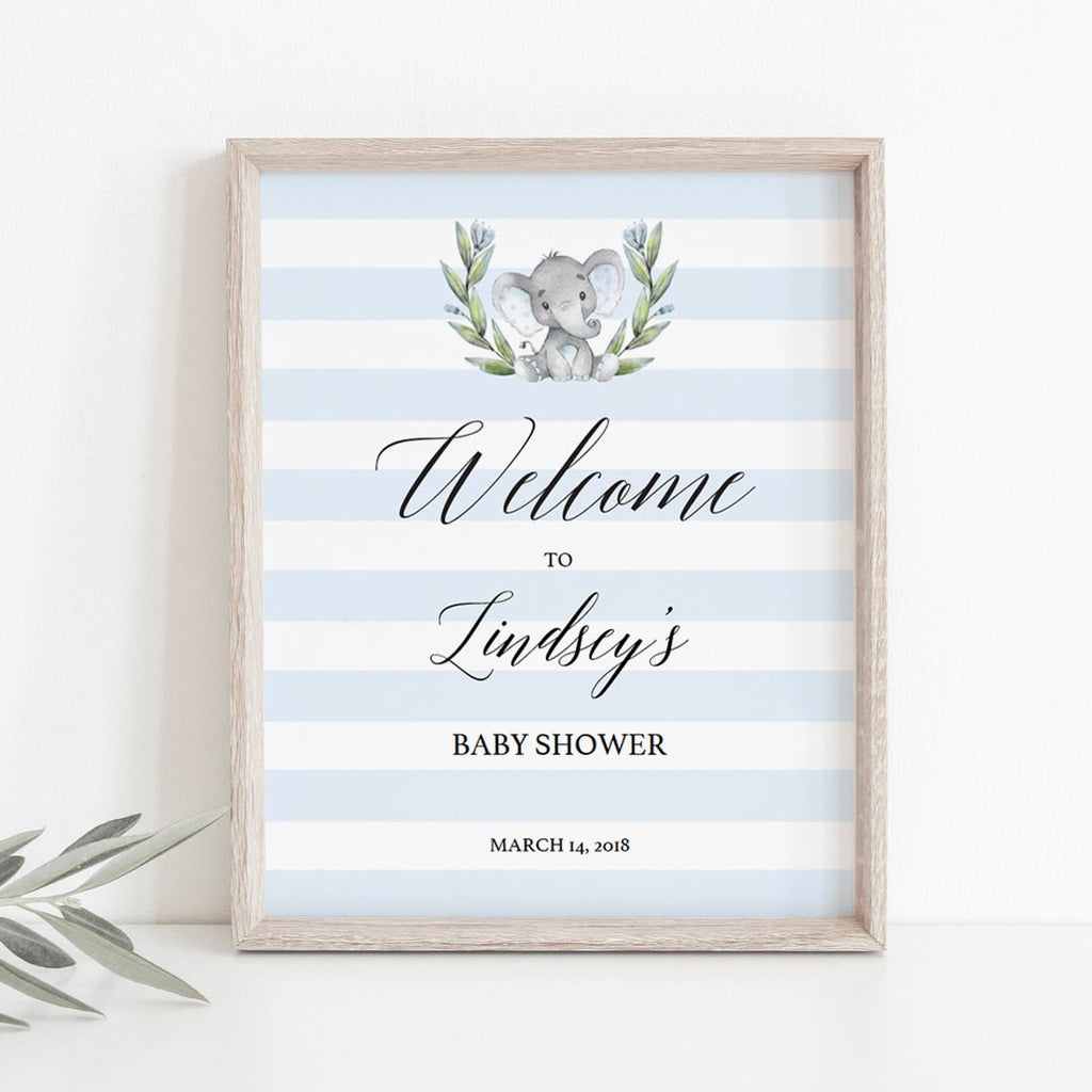 Blue and White Boy Baby Shower Welcome Sign Printable