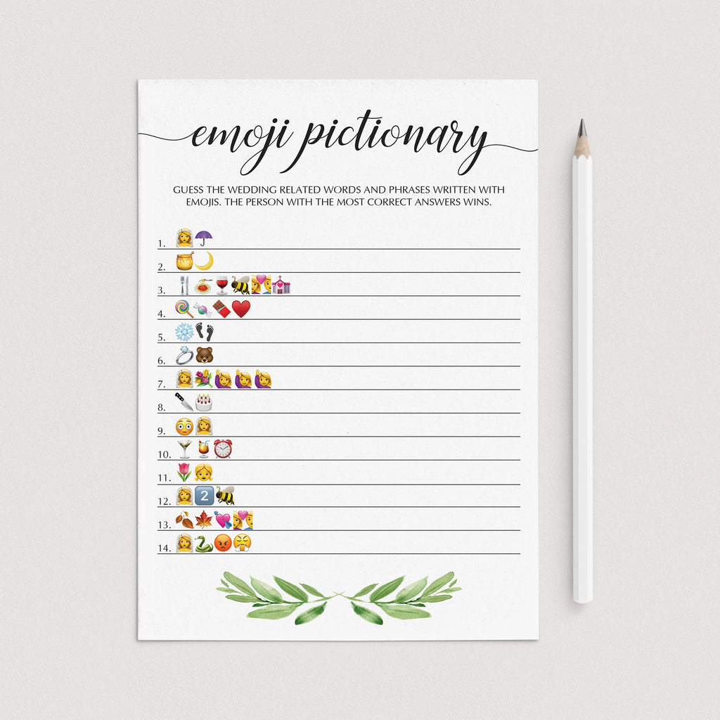 bridal shower emoji game printable