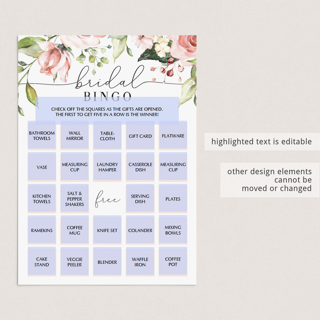 bridal shower bingo prefilled floral cards