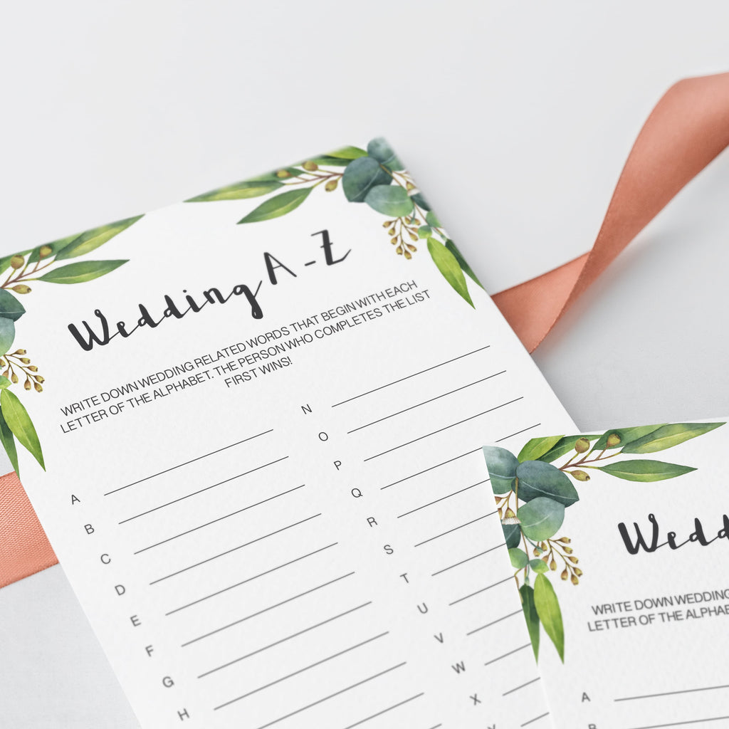 watercolor eucalyptus leaves wedding abc game cards digital download