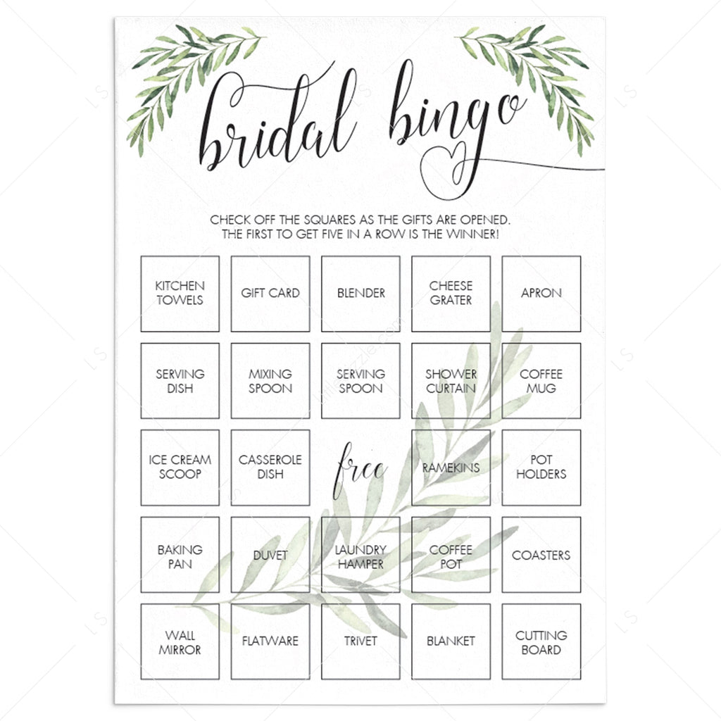Greenery Bridal Shower Bridal Bingo Game Cards Printable by LittleSizzle