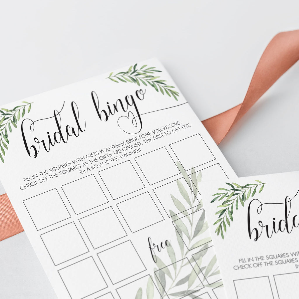 Greenery Bridal Shower Bridal Bingo Game Cards Printable