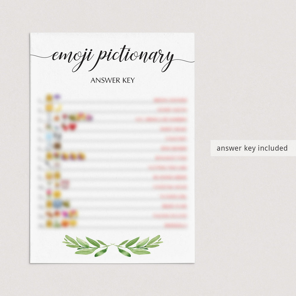 greenery bridal shower emoji pcitionary with answer key