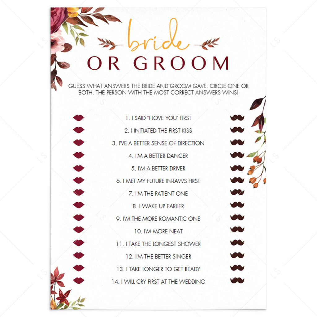 Bridal Shower Baby Games He Said She Said Find the Guest DIGITAL Download, Keepsakes What/'s in Your Purse Wedding Party Favors