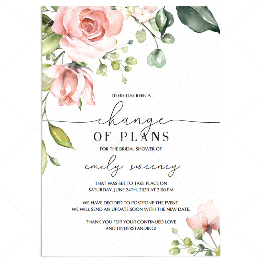 Postponement Template for Floral Bridal Shower by LittleSizzle