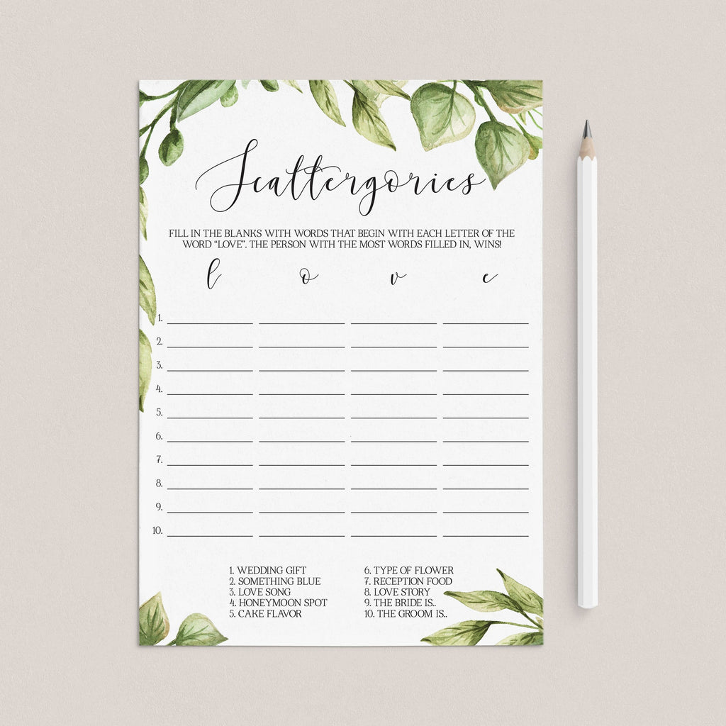 forest bridal shower scattergories game printable