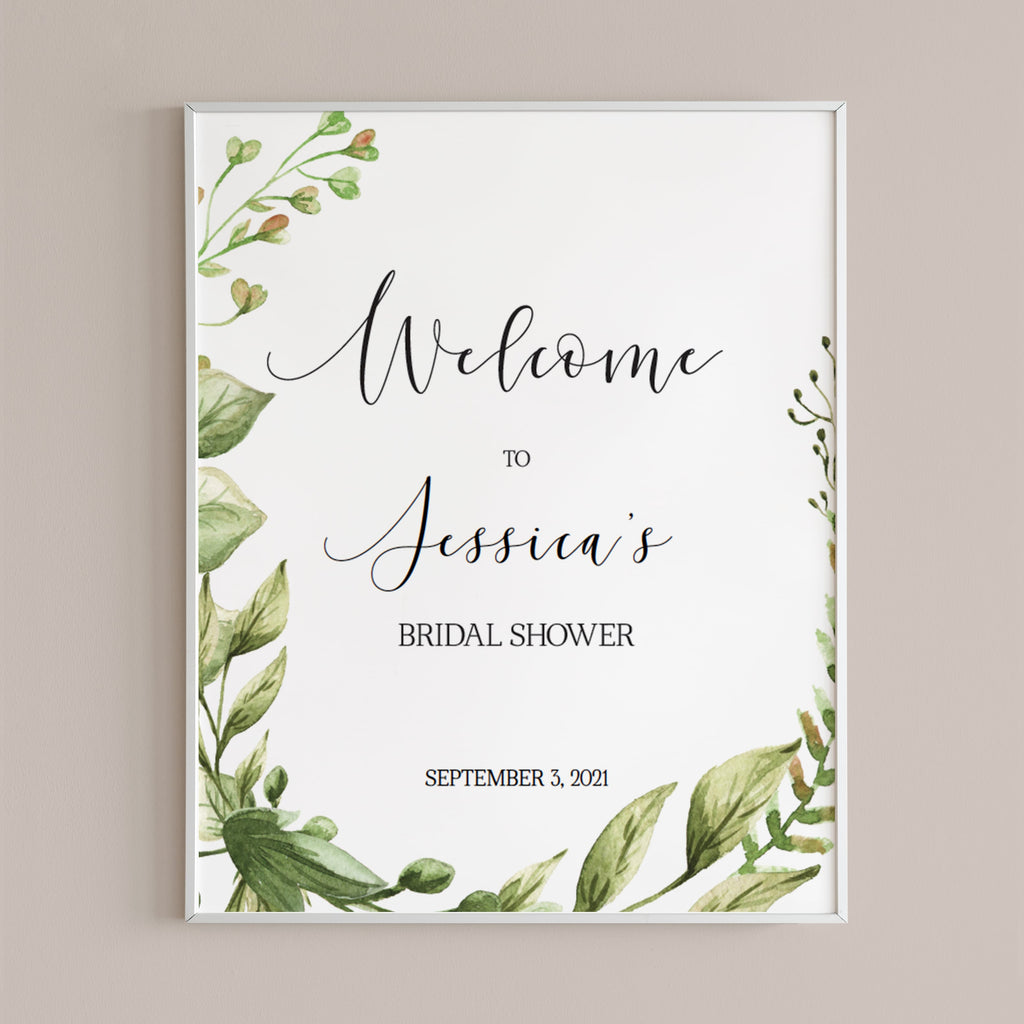 Greenery Bridal Shower Welcome Sign Template