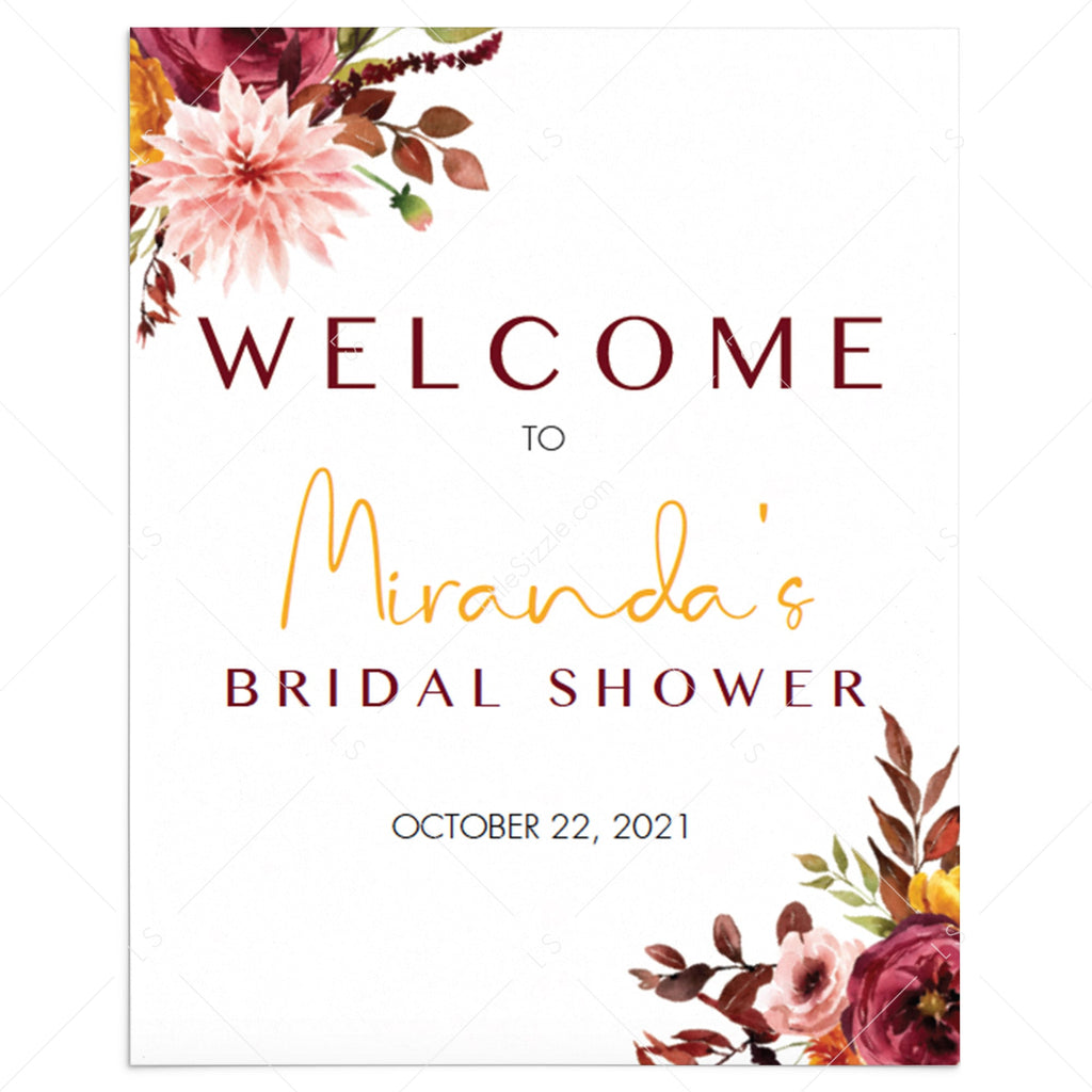 Boho bridal shower welcome sign template by LittleSizzle
