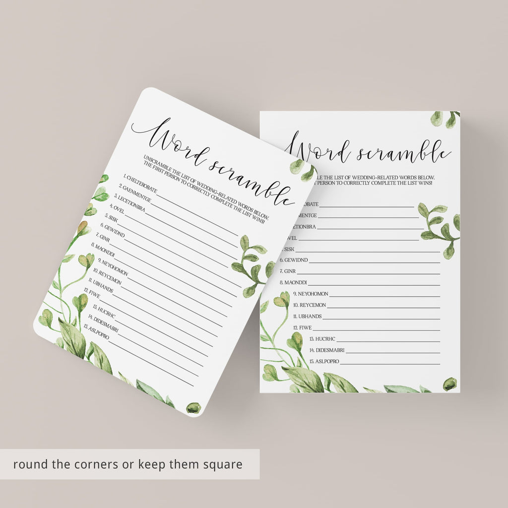 printable word scramble for bridal shower activity ideas