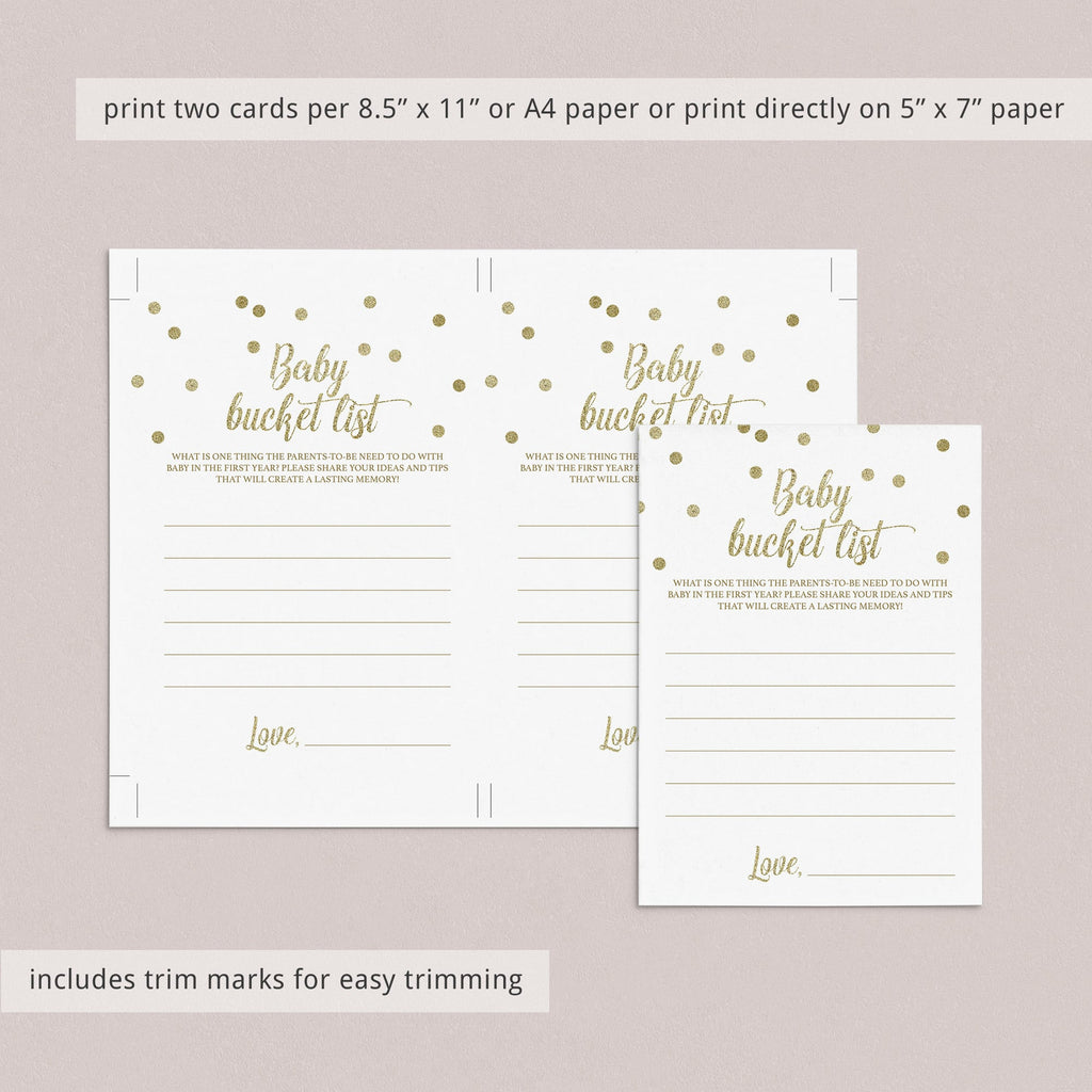 First Year Baby Shower Game Printable Bucket List