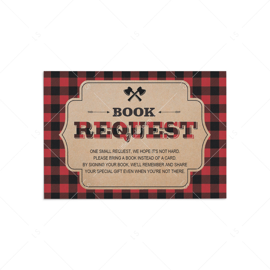Baby shower lumberjack theme book request cards printable