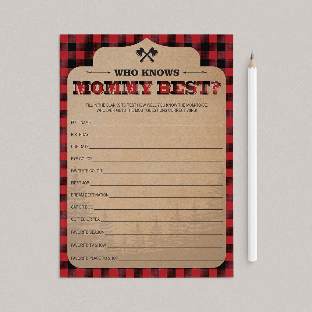Buffalo Plaid Baby Shower Mommy Quiz Printable by LittleSizzle