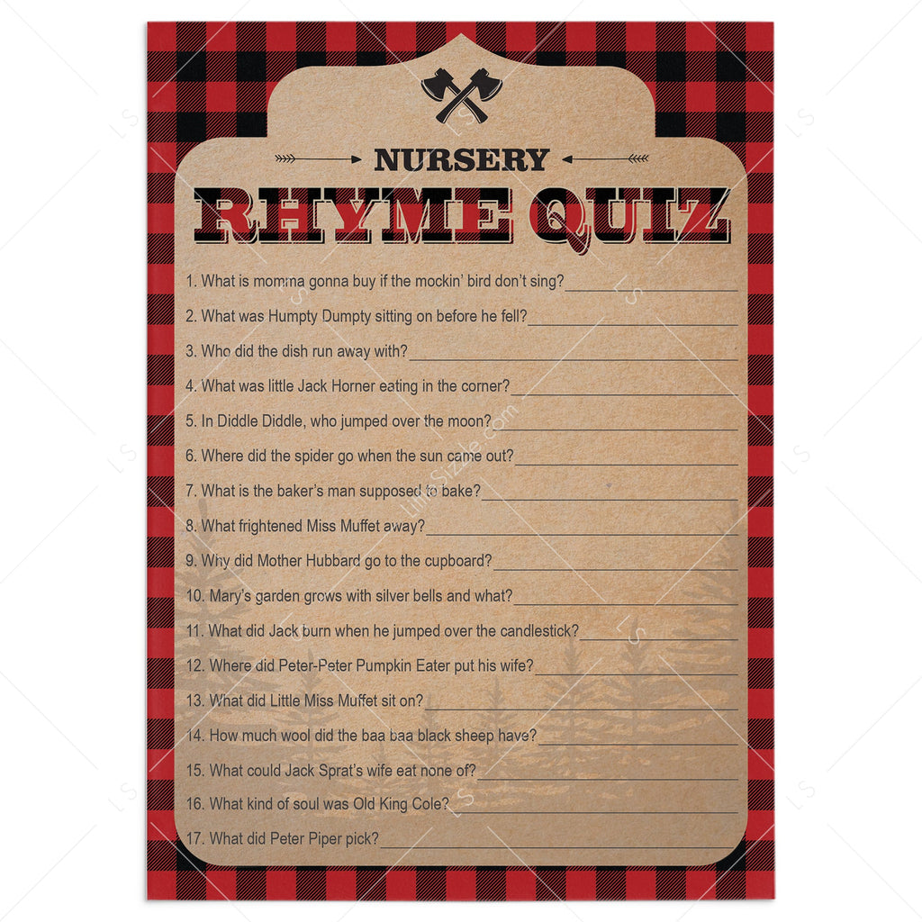 Red and Black Buffalo Plaid Nursery Rhyme Quiz Printable by LittleSIzzle
