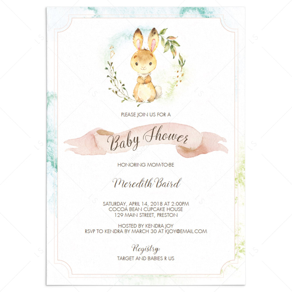 Bunny baby shower invitation template by LittleSizzle