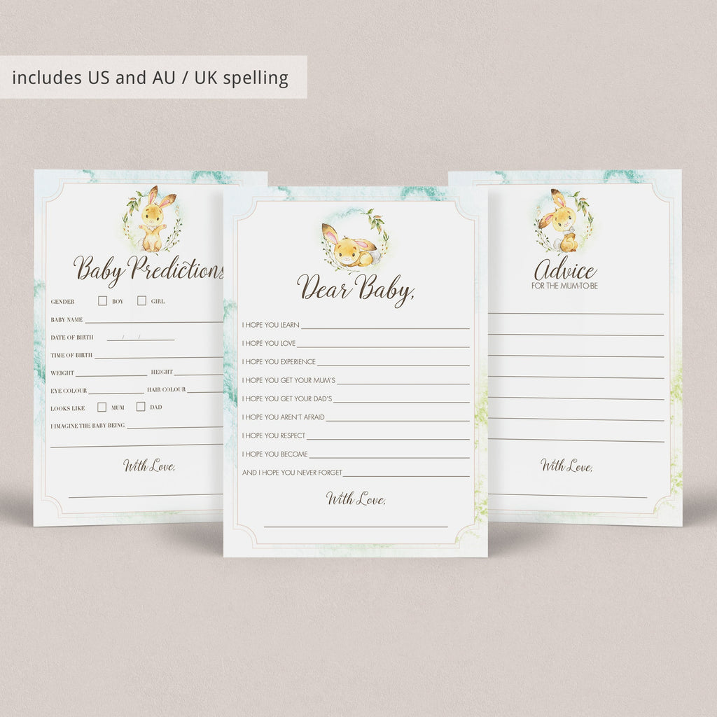 Printable Blush Pink Watercolor Baby Shower Game Package