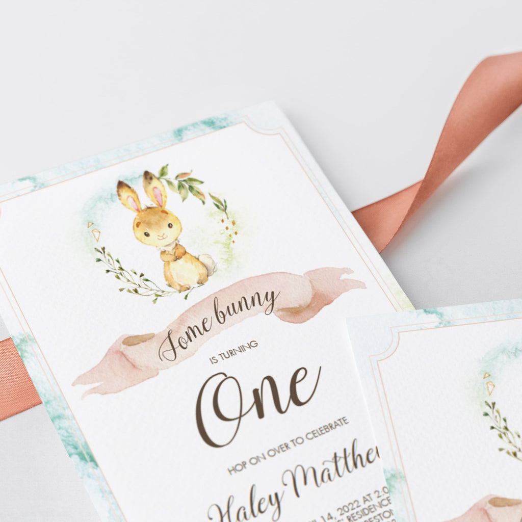 Some bunny is one invitation editable template by LittleSizzle