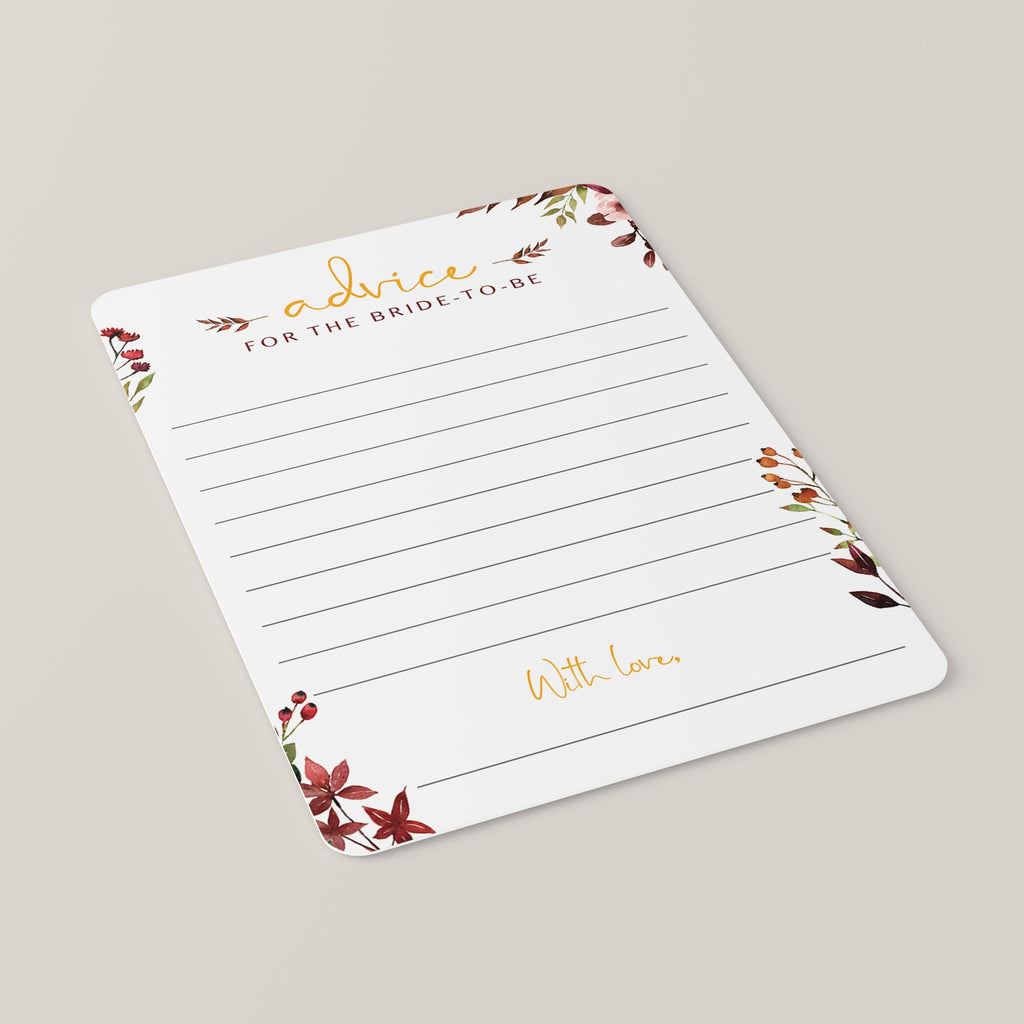 Autumn florals bridal shower advice cards instant download by LittleSizzle