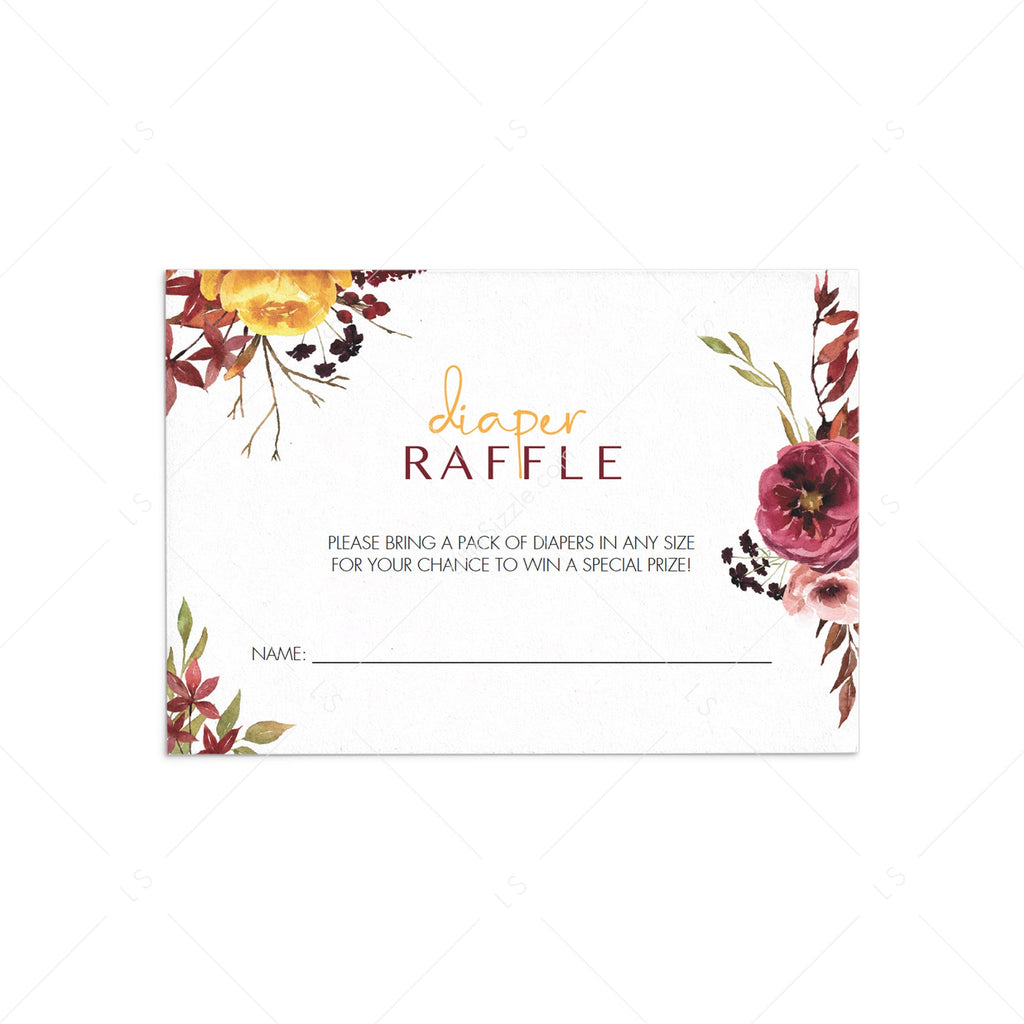 Boho baby shower diaper raffle cards printable by LittleSizzle