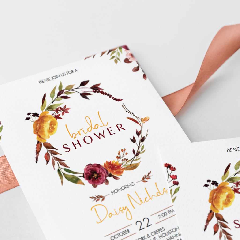 Autumn flowers watercolor bridal shower invites by LittleSizzle