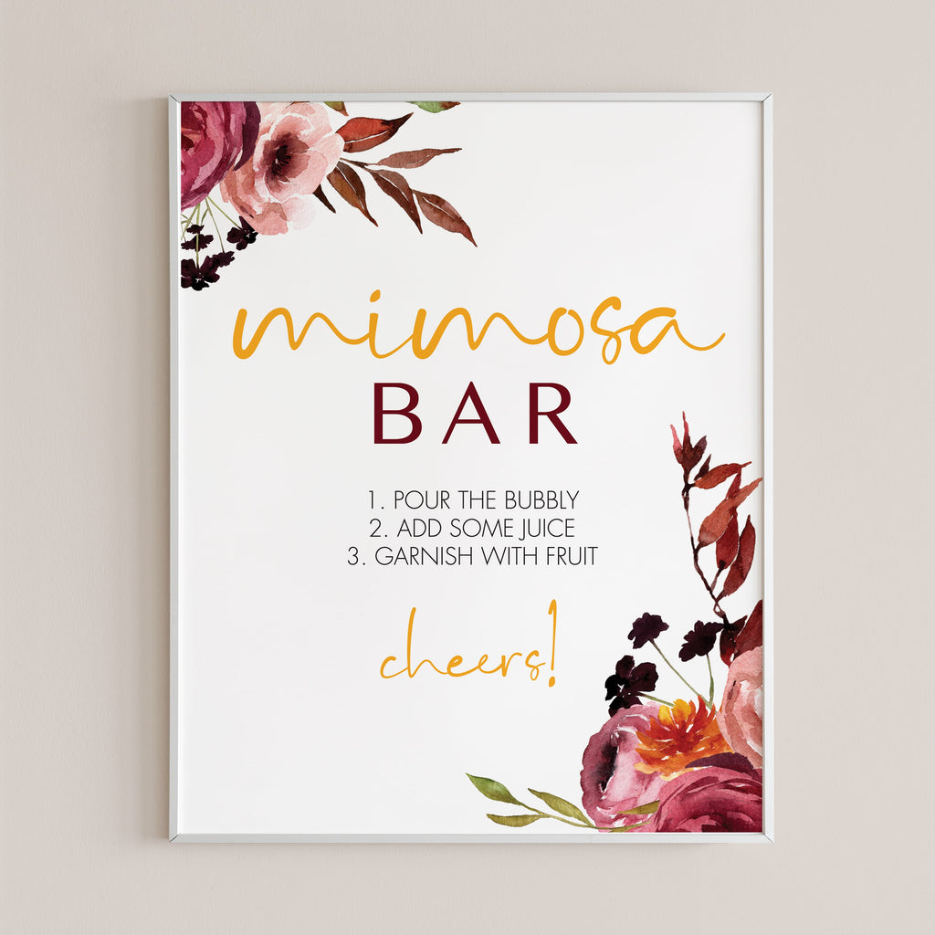Printable mimosa bar sign fall theme party by LittleSizzle