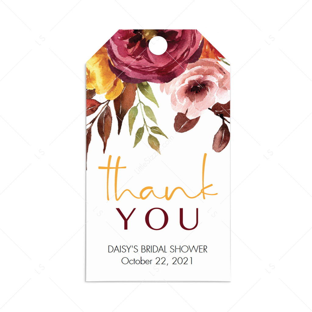 Bridal shower favor tag template burgundy flowers by LittleSizzle