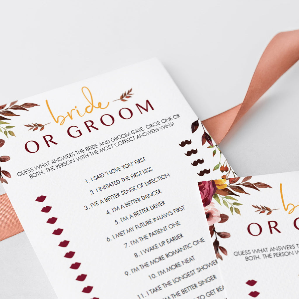 Printable bride or groom guess who game red flowers by LittleSizzle